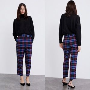 Zara Blue Plaid High Waist Pants